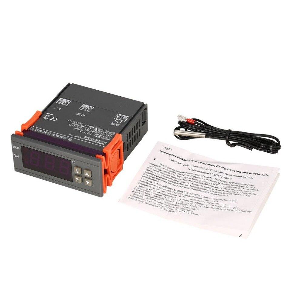 MH1210W AC90-250V Digital Termostato Regulador de Temperatura Controlador-50 ~ 110 C NTC Sensor de Controle De Refrigeração Aquecimento