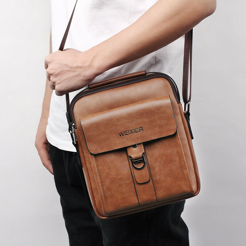 Fashion New Man Shoulder Briefcases Bags Business Bag PU Leather Sports Casual Messenger Bags Multi-pocket Handbag