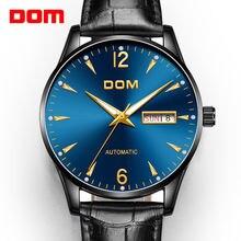 Dom лучший бренд класса люкс механические мужские часы с кожаным