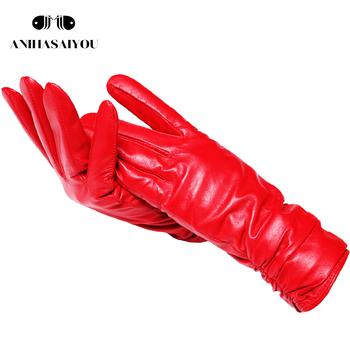 2019 moda nowe produkty zimowe skórzane rękawiczki krótka skórzana rękawiczki damskie nadgarstek zaostrzenie projekt zimowe skórzane rękawiczki damskie tanie i dobre opinie anihasaiyou Kobiety Poliester Prawdziwej skóry COTTON Dla dorosłych Stałe 2081 Winter women Genuine leather gloves Fashion women Genuine leather gloves