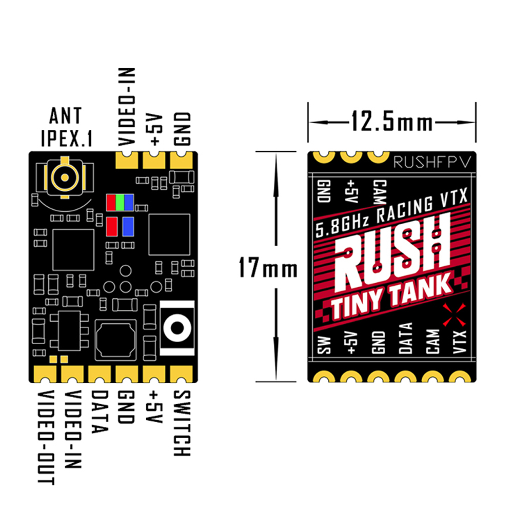 Image 5 - RUSH Tiny TANK FPV Video Transmitter VTX 48CH 350mW with EMAX Nano Foxeer Lollipop 3 Antennna for RC FPV Racing Toothpick DroneParts & Accessories   -