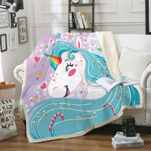 Rainbow Unicorn Bed Blankets,Cute Girl Flowers Unicorn Thick Double-Layer Plush Throws,Lightweight Travelling Camping Blanket(China)