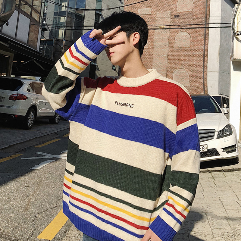 Fashion Casual Men's Sweater Spring And Autumn New M-2XL Stripe Loose Pullover Black And White Personality Youth Popular