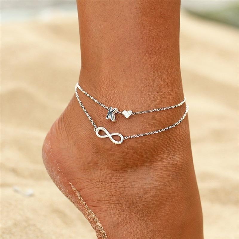 WUKALO 2020 New Heart Anklets Bracelet for Women Silver Color Letter Leg Chain Ankle Bracelet A-Z Alphabet Anklet Christmas Gift