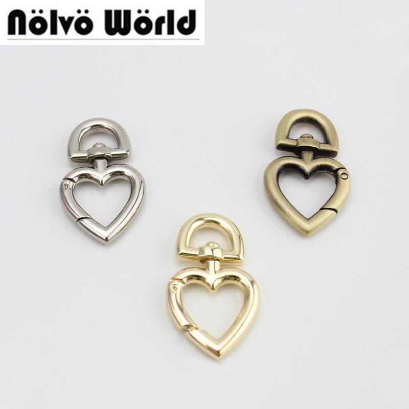 30pcs 3 Colors Heart Shape Keyfob Clasp Metal Hook,Heart Lobster Clasps Accessories For Handbags Bags