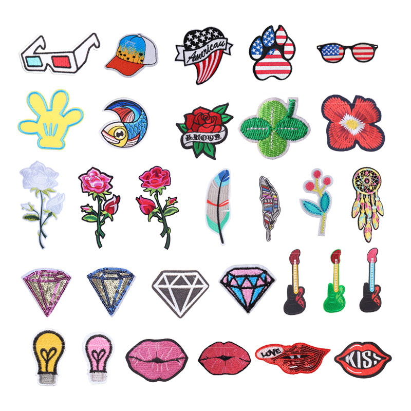 Flower Embroidered Patches Iron On Patch DIY Clothing Pocket Badge Sewing Sticker For Clothes Decoration Fusible Applique F