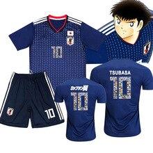 В комплекте; футболка+ шорты; капитан Tsubasa JFA Футбол Костюмы комплекты № 10 Tsubasa озоре Косплэй Джерси для взрослых