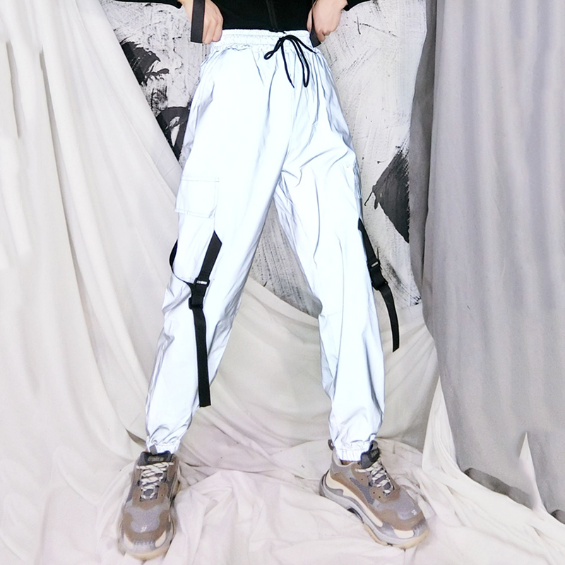 2020 Spring Loose Reflective Cargo Pants Glowing Streetwear Ribbon Sweatpant Women Casual  Trousers Hip Hop Harajuku Cargo Pants