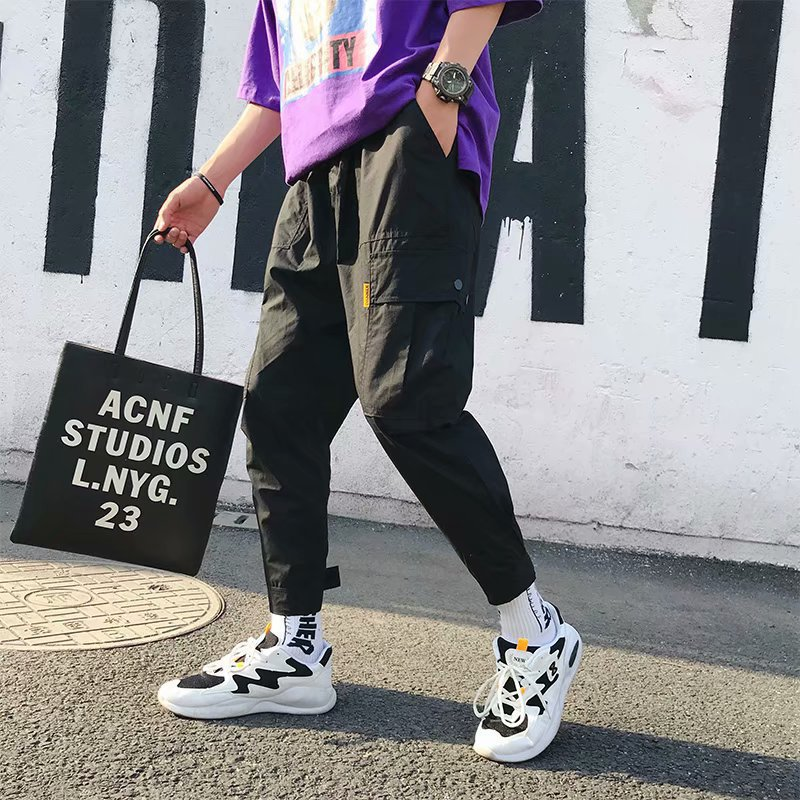 New Style Loose-Fit Velcro Capri Pants Beam Leg Popular Brand Summer Japanese-style Bib Overall Men's Thin Skinny Harem Pants
