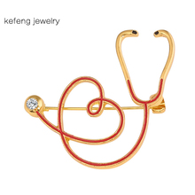 Red Enamel Stethoscope Pin Medical Medicine Jewelry Gold Color Alloy Personality Nurse Doctor Student Hat Lapel Pins Girl Gift