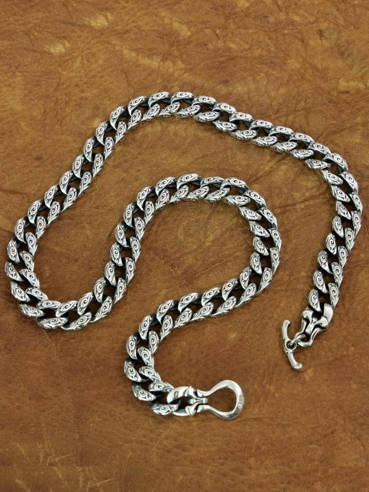 Auspicious Clouds Chain 925 Sterling Silver Mens Biker Punk Necklace TA155