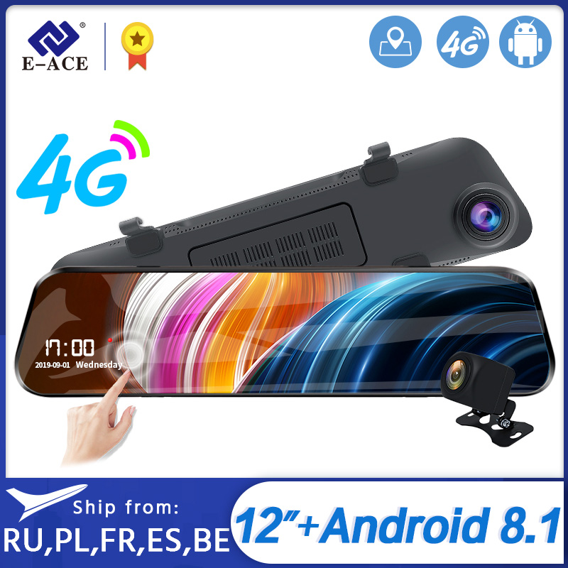 E-ACE 12 Inch Android 4G <font><b>DVR</b></font> <font><b>Car</b></font> <font><b>Camera</b></font> Android GPS Navigation <font><b>Car</b></font> <font><b>DVR</b></font> Video Recorder With Bluetooth WiFi <font><b>ADAS</b></font> <font><b>Car</b></font> Recorder image
