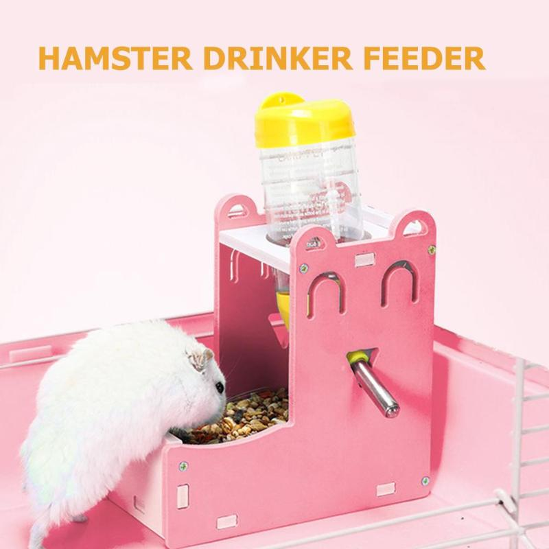 Hamster Automatic Water Fountain Drinker Food Feeder Samll Animal Nest House Dispenser Basin Bracket