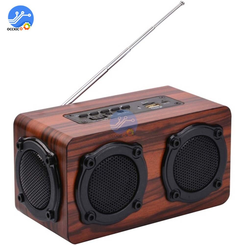 Haut-parleur Bluetooth sans fil en bois Portable rétro Subwoofer stéréo HiFi FM Radio USB TF AUX pour enceinte de bureau à domicile en plein air