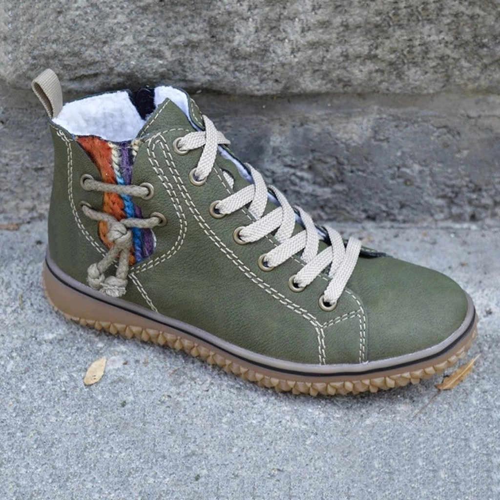 Kışlık botlar kadın düz ayakkabı takozlar Sneakers ayak bileği kısa çizmeler rahat düz deri Retro dantel-up çizmeler yuvarlak ayak ayakkabı patik