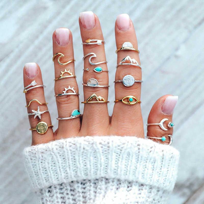 19 ชิ้น/เซ็ต Boho แหวนผู้หญิงชุดเข็มทิศลูกศรปลาดาว Wave ดวงจันทร์อัญมณีทองเงินเปิด Midi แหวน Charm ของขวัญคนรัก