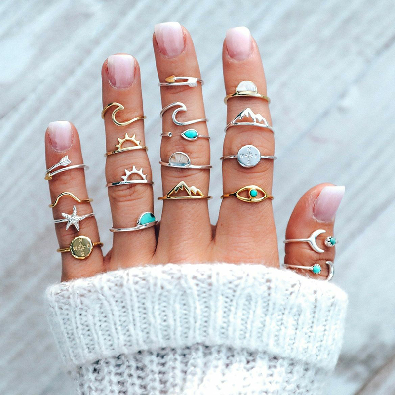 19 Pcs/ Set Boho Women Rings Set Compass Arrow Starfish Wave Moon Eyes Gem Gold Silver Opening Midi Ring Charm Lady Lover Gift