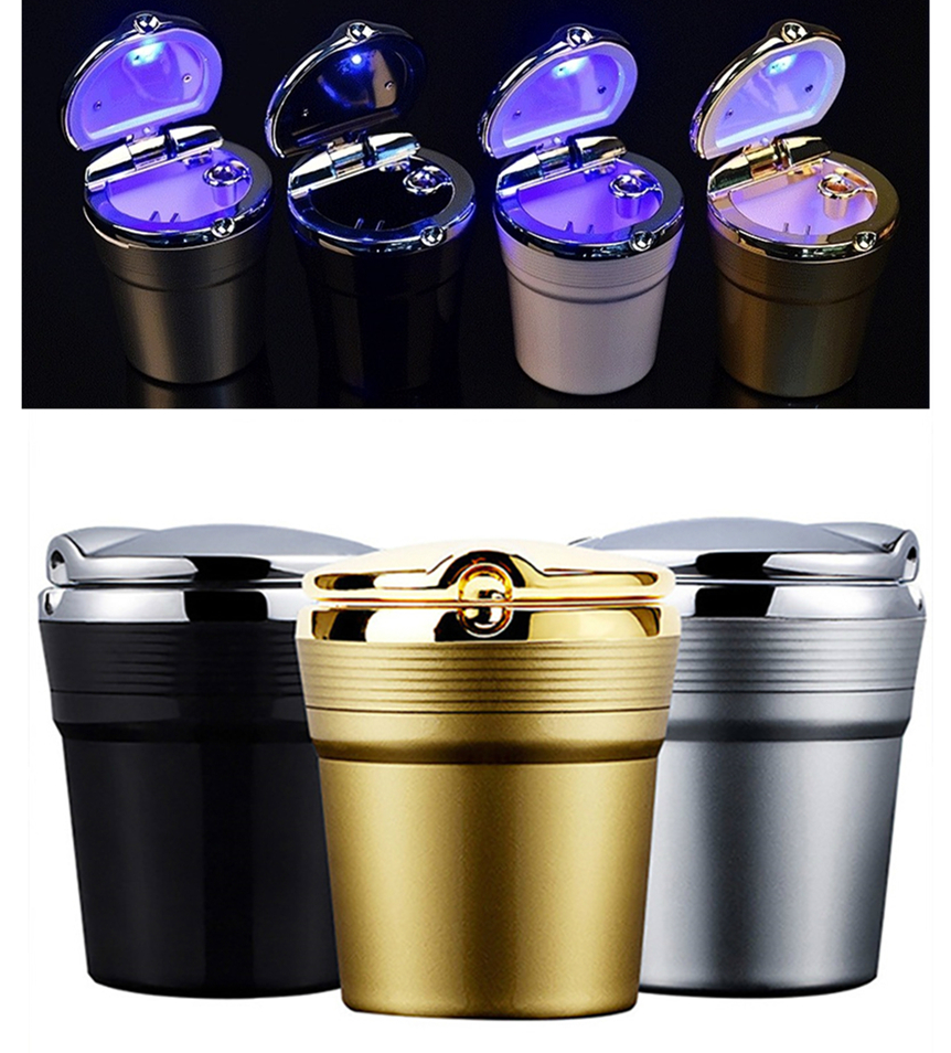 Universal Car Ashtray With Led Lights With Cover Creative Personality Covered Car Inside The Car Multi-function Car Supplies