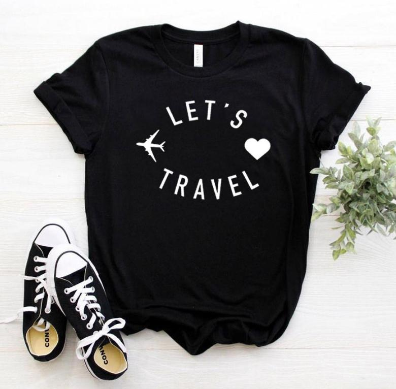 Let's Travel Letter Print T Shirt Women Short Sleeve O Neck Loose Tshirt 2020 Summer Women Tee Shirt Tops Camisetas Mujer