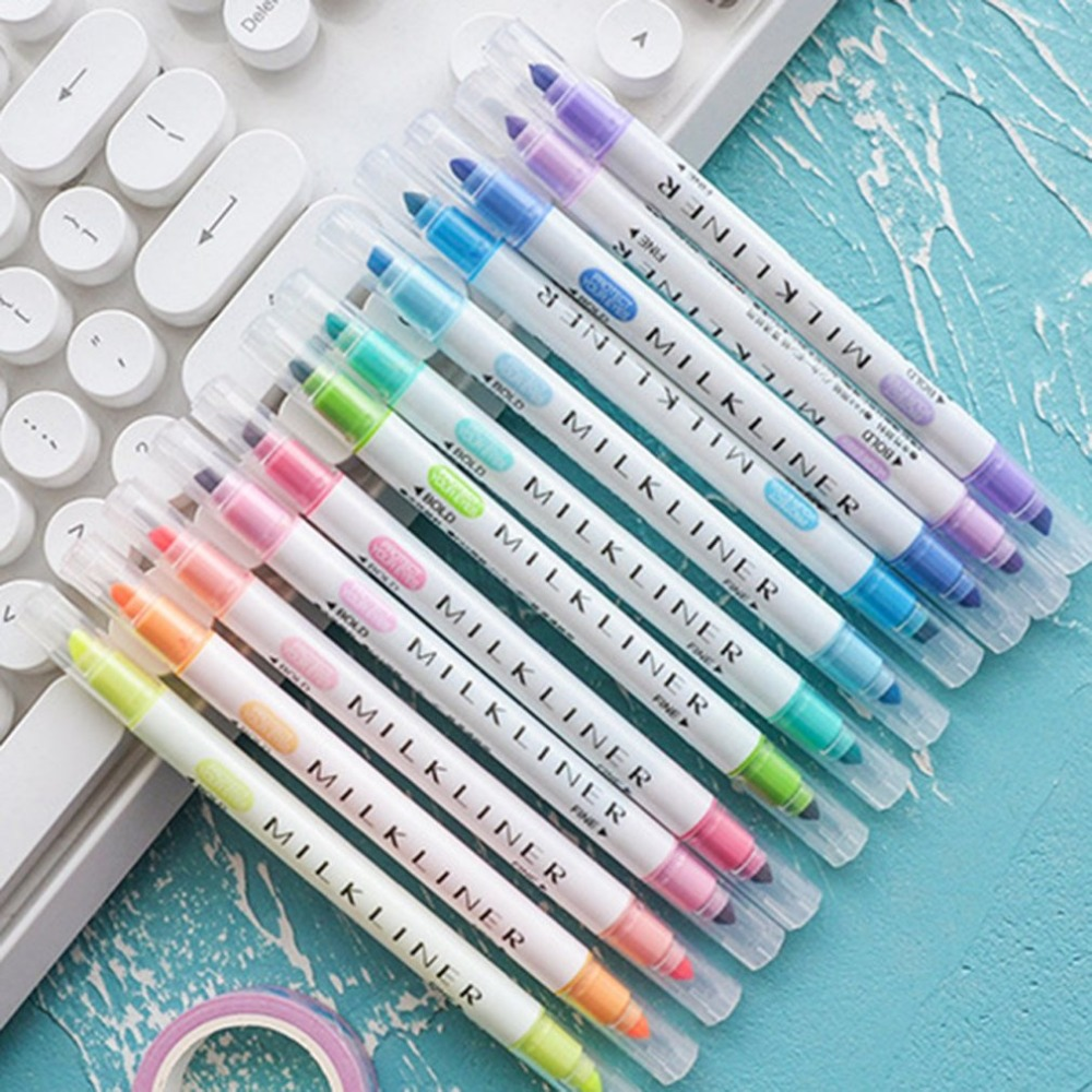 12pcs/set Mildliner Highlighter Pen Stationery Double Headed Fluorescent Marker Pen 12 Colors Mark Pen Cute Mildliner