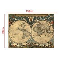 Medieval Map Latin Portuguese Non-woven Waterproof 150x100cm Decorative