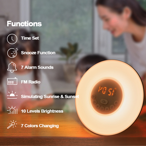 Image 2 - Wake Up Light Alarm Clock Sunrise/Sunset Simulation Luminous Digital Clock with FM Radio Night Light Touch Control Table Clocks
