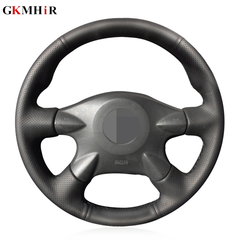 Black Artificial Leather Steering Wheel Cover for Nissan Almera (N16) X Trail (T30) Primera (P12)Terrano 2 Pathfinder Paladin|Steering Covers| |  - title=