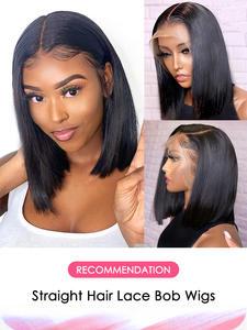 Aircabin Bob Wigs Short Lace-Closure T-Part Human-Hair Glueless Remy 13x6 Black-Women