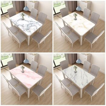 Imitation Marble Pattern Nordic Tablecloth PVC Printing Soft Glass Table Mat Rectangular Waterproof Anti-hot Tablecloth