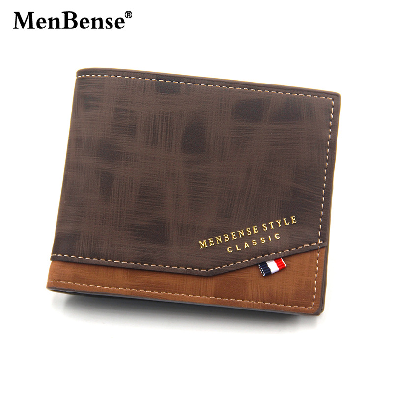 MenBense Mens Wallet Leather PU Tri-fold Short Wallet Male Retro Business Coin Purse Bag Multifunctional Mini Card Wallet