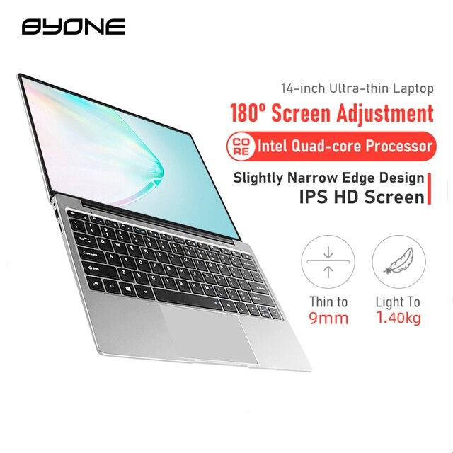 BYONE 14.1 Inch Laptop 8GB RAM128G 256G SSD Intel Celeron J3455 DDR4 Windows 10 LaptopThin Notebook1920*1080 IPS Computer 1