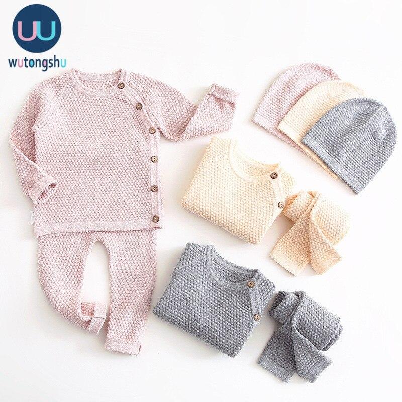 Комплект одежды для маленьких мальчиков, осенне-зимняя однотонная Одежда для новорожденных девочек топы с длинными рукавами + штаны, компле...