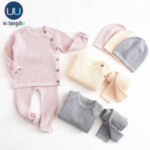 Baby Boy Clothes Set Autumn Winter Solid Color Newborn Baby Girl Clothes Long Sleeve Tops+Pants Outfits Suit Casual Baby Costume