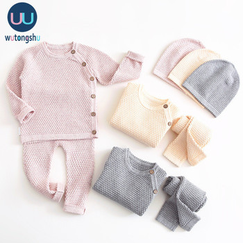 Conjunto de ropa de niño bebé Otoño Invierno Color sólido ropa de niña recién nacida Tops de manga larga + Pantalones trajes traje Casual traje de bebé