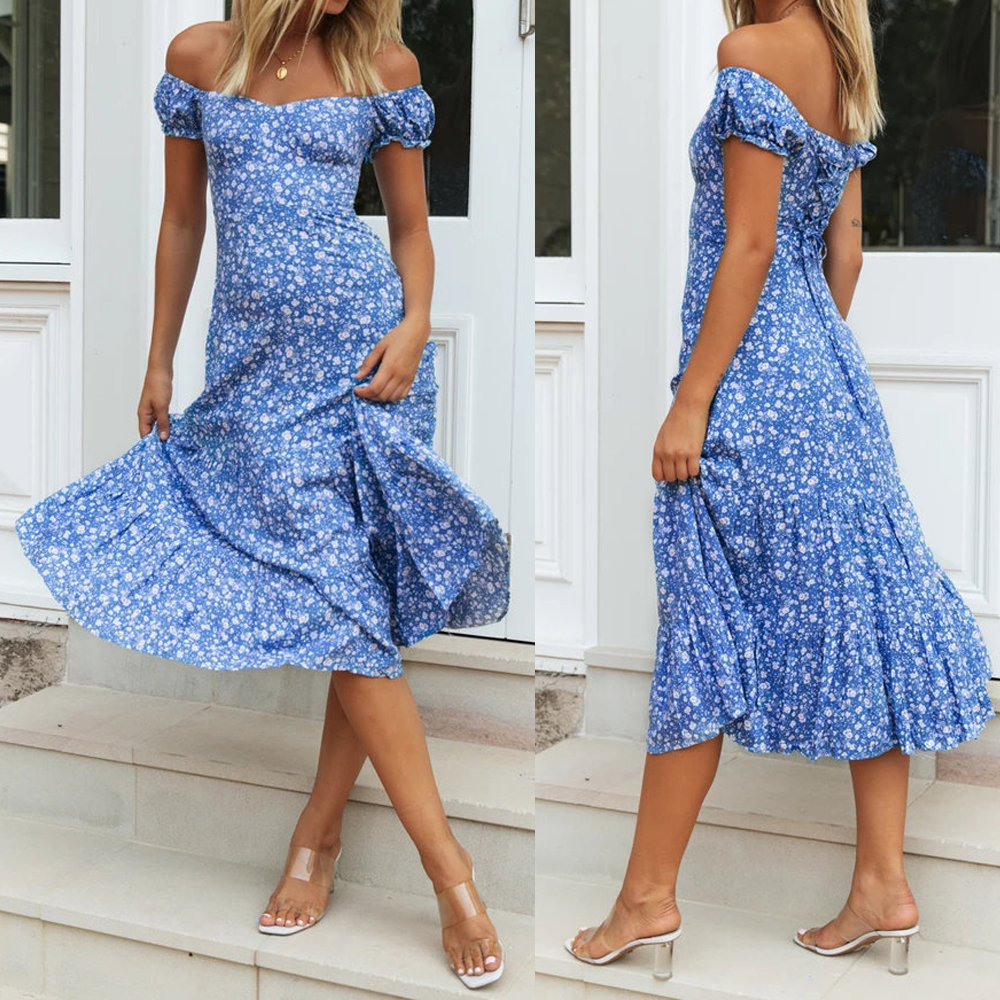 2020 Fashion Women's Summer Boho Casual Long Maxi Dress Holiday Evening Party Print Beach Dress Sundress
