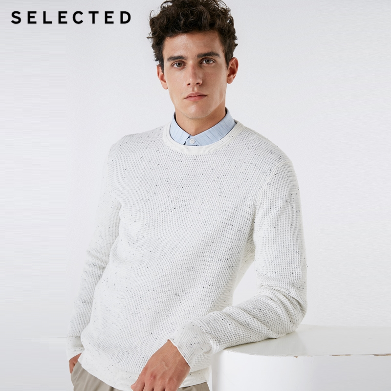 SELECTED Men's Casual Pullover Sweater O-Neck New 100% Cotton Long-sleeved Knitted Clothes C   418324512