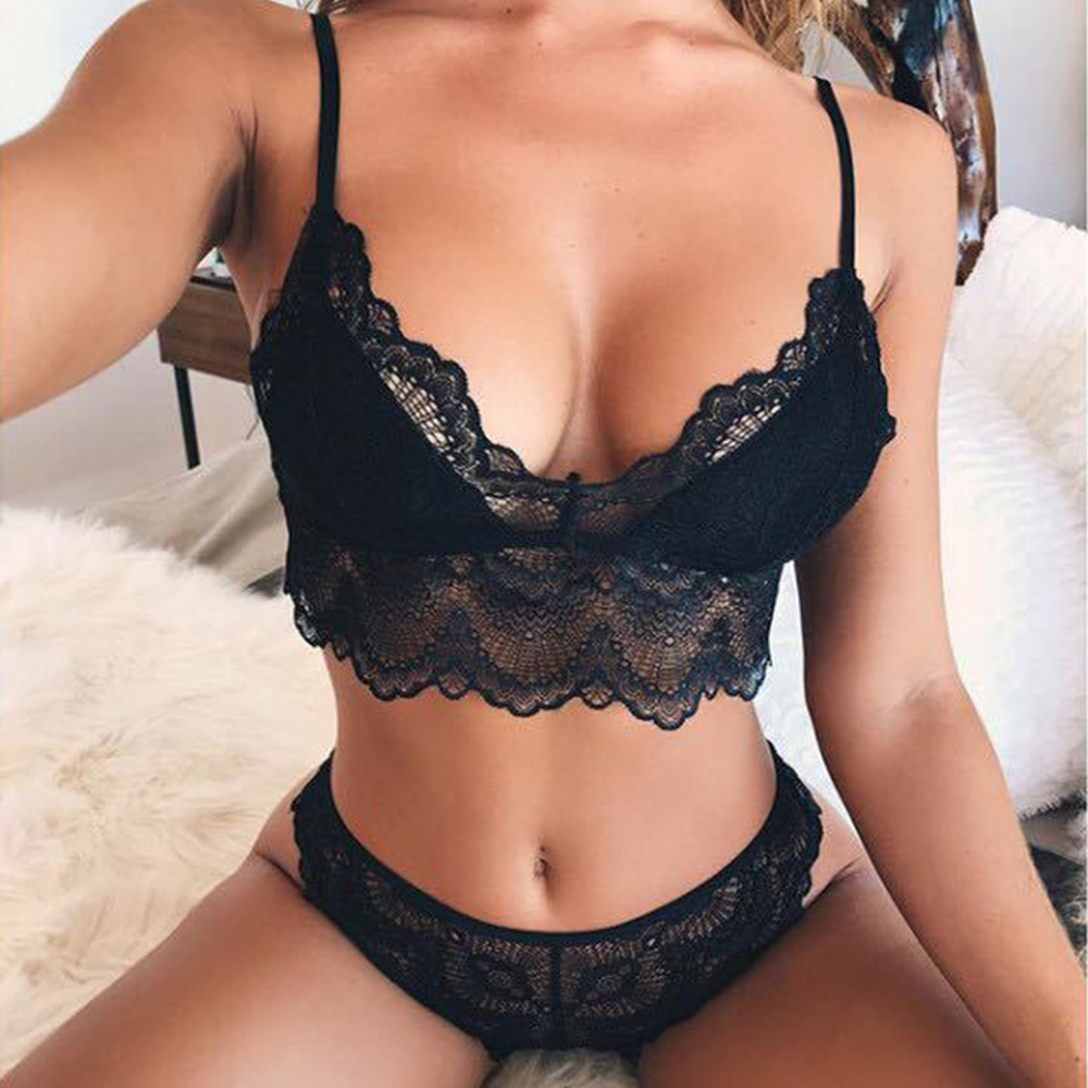 Sexy Lace Bra Sets Women Seamless Bra Ultrathin Panties Padded Bralette Lingerie Soft Briefs Underwear Set Female Intimates