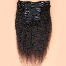 Clip In Human Hair Extensions Peruaanse Virgin Haar Kinky Steil Haar Natural Color Volledige Head Sets 120G 8 stuks/set(China)