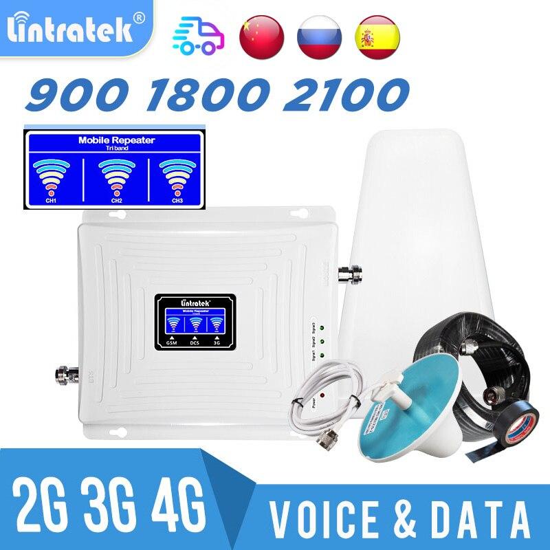 Усилитель сигнала Lintratek tri band 2G 3g 4G 900 1800 2100 МГц, ретранслятор сигнала сотовой связи GSM UMTS WCDMA LTE, Усилитель сотового телефона 53