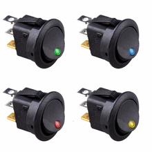 8pcs/lot 12V LED Round Rocker ON/OFF SPST Toggle Switches for Car Boat 3 pins