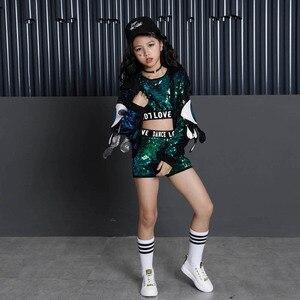 Image 3 - Kid Sequin Hip Hop Hoodies Jacket Clothing for Girls Crop Tank Top Shirt Shorts Jazz Dance Costume Ballroom Dancing Clothes Wear