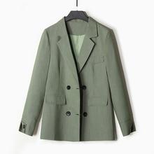 Korean Stylish Ladies Blazer Solid Green Loose Casual Suit Jacket Long Sleeve Simple Vintage Office Women Blazer New MM60NXZ