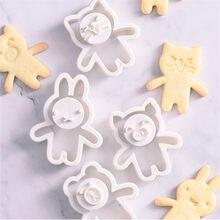 Bonito dos desenhos animados cortadores de biscoito urso coelho gato porco forma festa molde de biscoito decoração do bolo cozinha ferramentas de cozimento