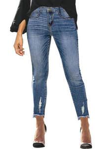 Ripped Jeans Tassel Denim-Pants Trousers Pencil Mid-Waist Vintage Stretchy Women Blue