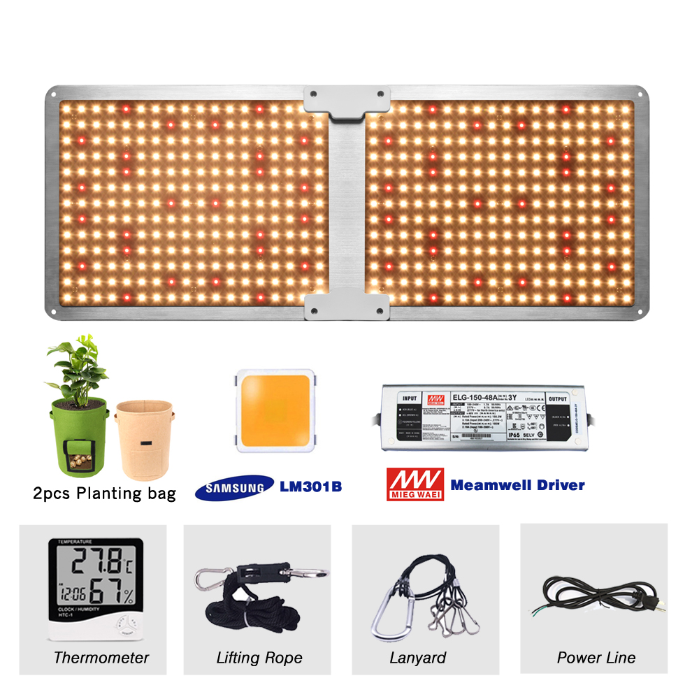 Samsung LM301H/LM301B Quantum Tech Board LED Grow Lights Full Spectrum 3000K Mix 660nm Indoor Grow Lamp, with 2pcs Planting bag
