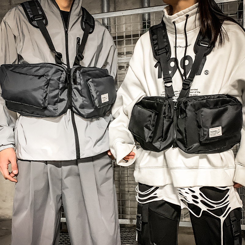 Men Tactical Bag Functional Vest Hip-Hop Streetwear Bag Harness Chest Rig Bags Unisex Oxford Two Pockets Men Waist Fanny Pack