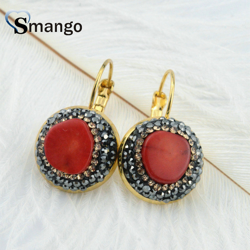 Wholesale Natural Red Stone Earrings Round Shape Charm Earring In Gold Colors Top Quality Plating, E0017