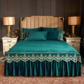 Темно-зеленая кровать принцессы  Вельветовая плотная теплая кружевная простыня  Европейский чехол на матрас  покрывало  полный размер King  ...