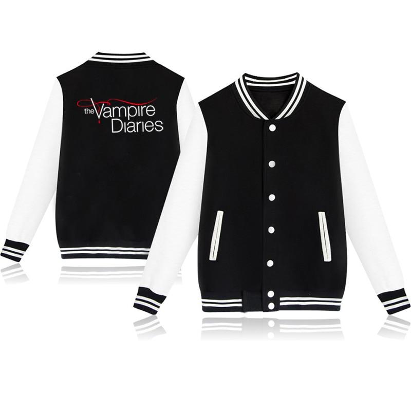 Autumn Winter Baseball Jacket The Vampire Diaries Baseball Uniform Boys Girls Lovely Jackets Clothes  Harajuku Sportswear
