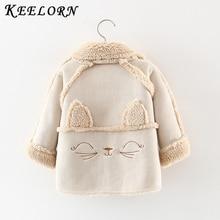 Keelorn/ г.; куртка для маленьких девочек; пальто с мехом; пальто с капюшоном и рисунком кота для малышей; зимняя детская куртка; Верхняя одежда для малышей на весну-осень